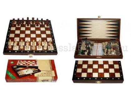 Шахматы деревянные 3 в 1 - шахматы, шашки, нарды Wegiel mini оптом