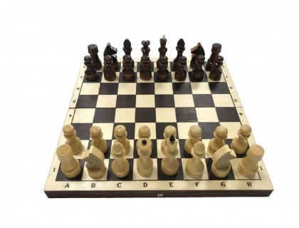 Шахматы обиходные лакированные с темной доской оптом