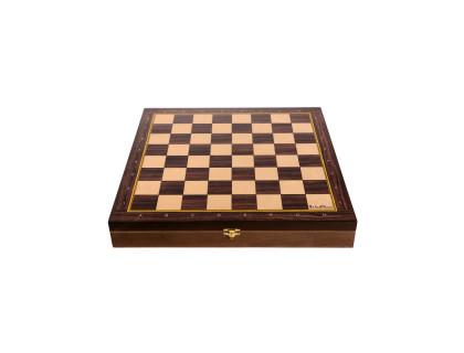 Доска-ларец цельная деревянная шахматная Баталия 37 см ( без фигур)  оптом
