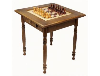 Стол шахматный темный с фигурами и ящиком (резные ножки) оптом