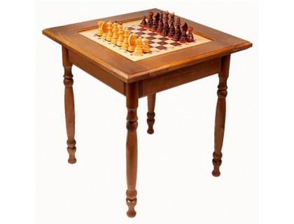 Стол шахматный темный с фигурами (резные ножки) оптом