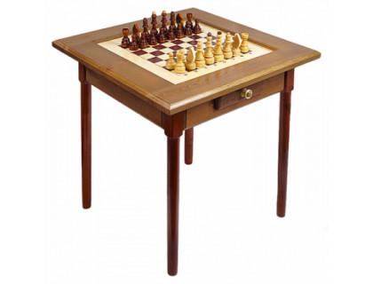 Стол шахматный темный с фигурами и ящиком (простые ножки) оптом