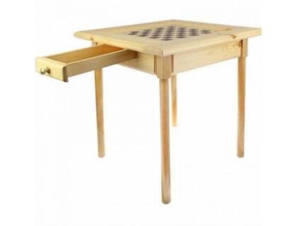 Стол шахматный светлый с фигурами и ящиком (простые ножки)  оптом