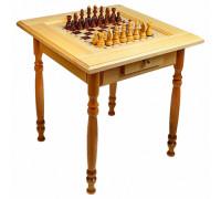 Стол шахматный светлый с фигурами и ящиком (резные ножки)