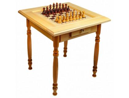 Стол шахматный светлый с фигурами и ящиком (резные ножки) оптом