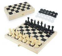 Шахматы-шашки Айвенго обиходные (пластик) с шахматной доской (дерево) 30 см