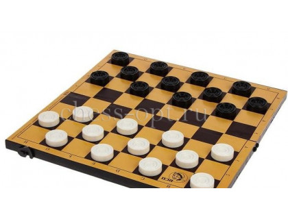 Шашки с шахматной доской (пластик)
