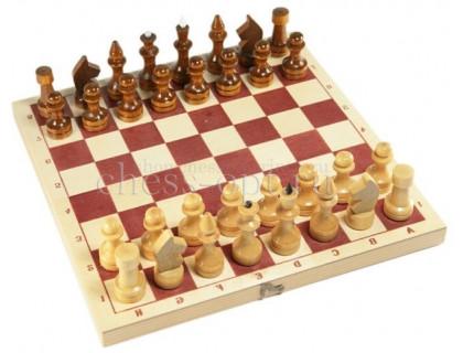 Шахматы обиходные лакированные с доской оптом
