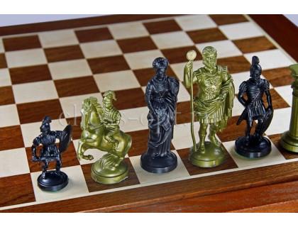 Шахматные фигуры Римский дизайн пластиковые золотые оптом